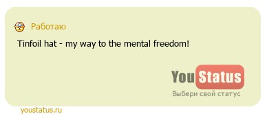статус: Tinfoil hat - my way to the mental freedom!